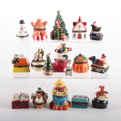 Seasonal and Religious Decorative Boxes Including Christmas and Halloween