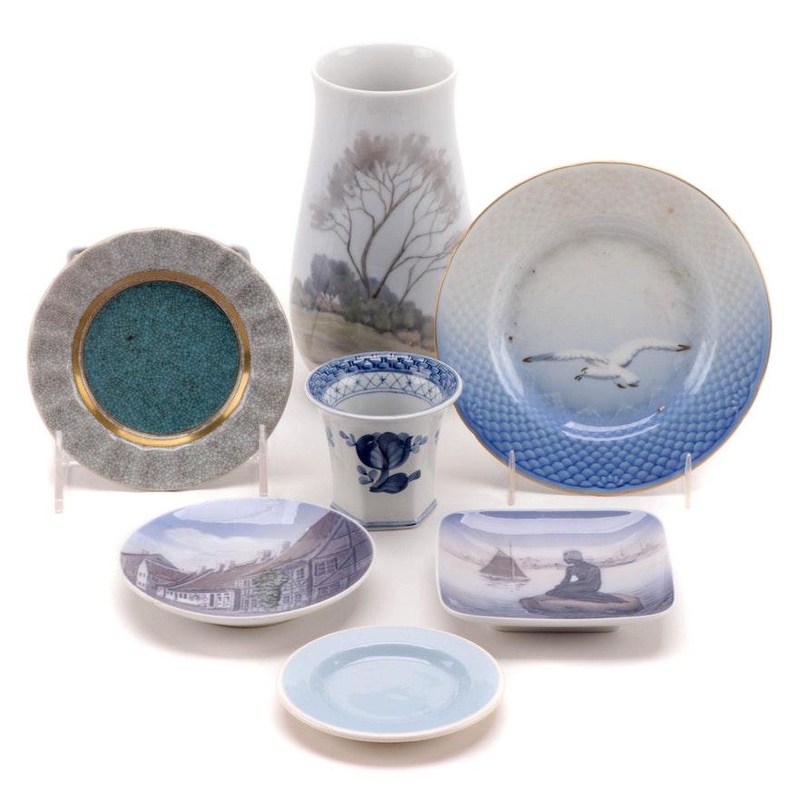 Bing & Grøndahl, Royal Copenhagen and Aluminia Porcelain Vases and Plates