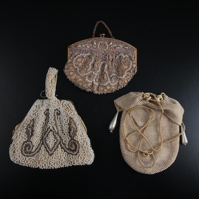 Hand-beaded Reticule, Drawstring and Frame Bags