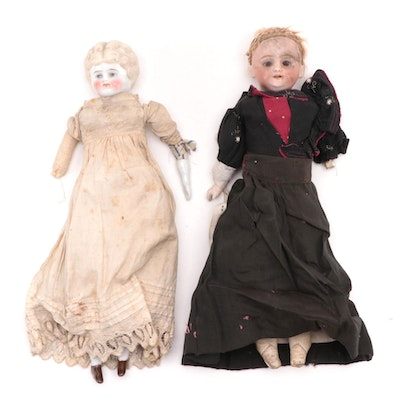 German Low Brow Blonde Hair China with Bisque Shoulder Plate Dolls, Antique