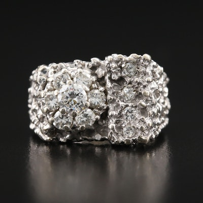 Brutalist 14K 1.02 CTW Diamond Cluster Ring