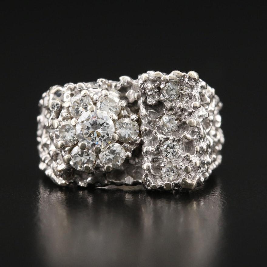 Brutalist 14K 1.02 CTW Diamond Cluster Ring