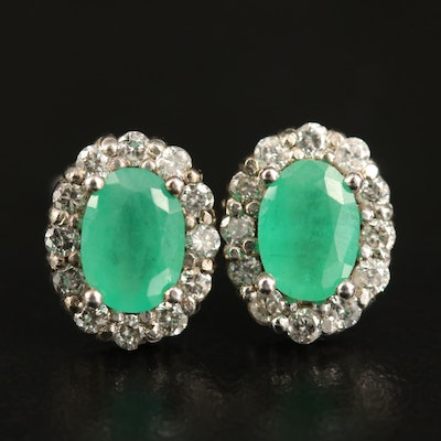 10K Emerald and Diamond Halo Oval Earrings
