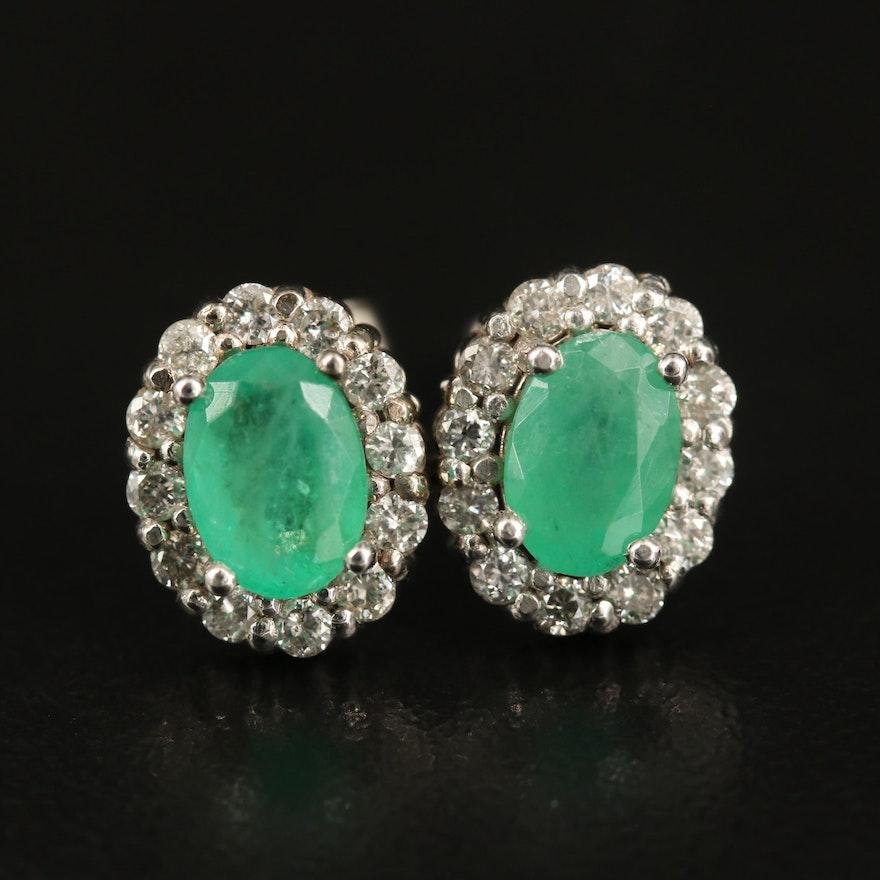 10K Emerald and Diamond Halo Oval Earrings