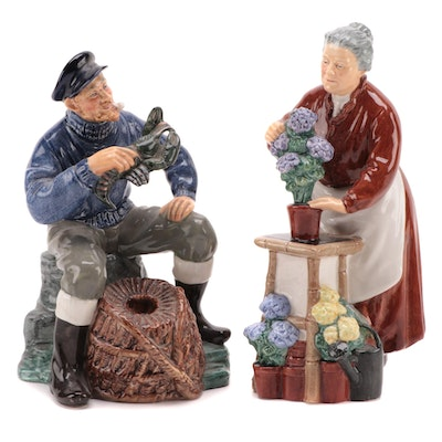 "Royal Doulton ""Flora"" and ""The Lobster Man"" Ceramic Figurines"