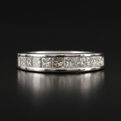 14K 1.02 CTW Princess Cut Diamond Channel Band