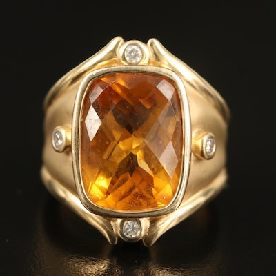 14K 11.66 CT Citrine and Diamond Ring
