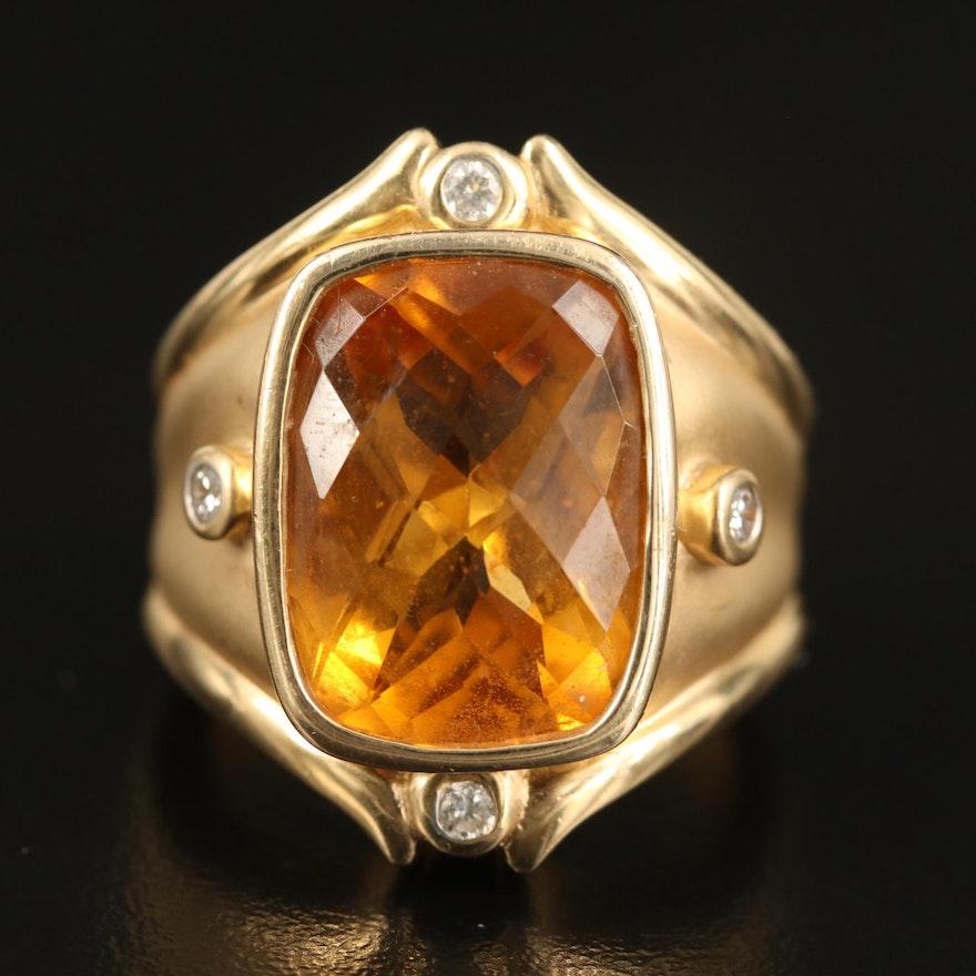 14K 11.66 CT Citrine and Diamond Ring