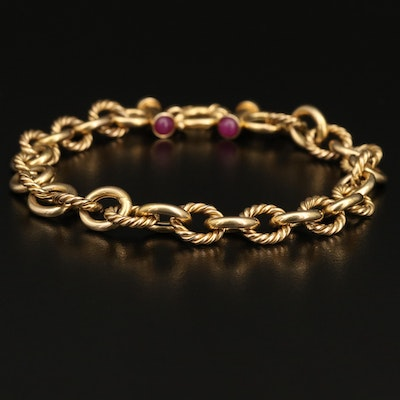 Italian 14K Ruby Bracelet with Twisted Links