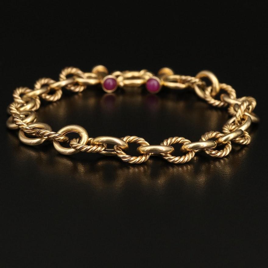 Italian 14K Ruby Bracelet with Twisted Links