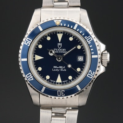 1992 Tudor Lady-Sub Blue Stainless Steel Automatic Wristwatch