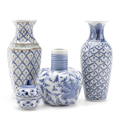 Thai Blue and White Porcelain Vases and Lidded Jar