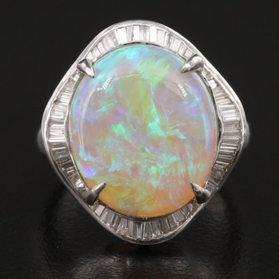 Platinum Opal and Diamond Ballerina Ring