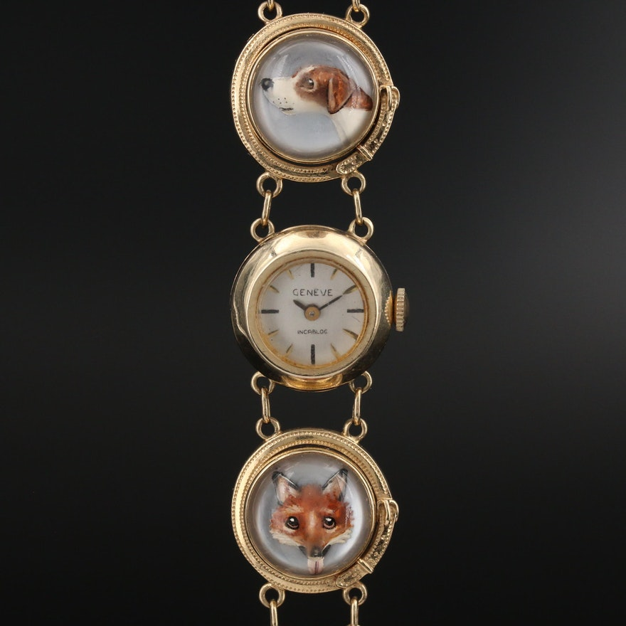 14K Geneve Reverse Painted Fox and Hound Wristwatch
