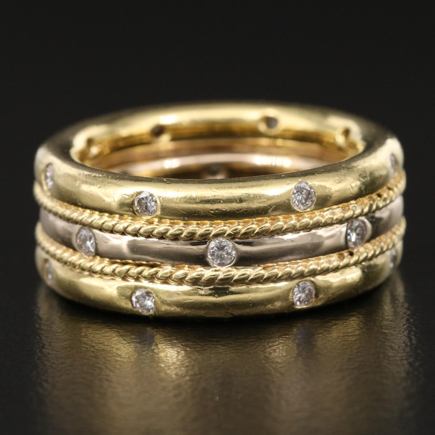 W.R. Designs 18K Two-Tone Diamond Band with Rope Detailing