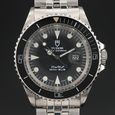1987 Tudor Prince Oysterdate Mini-Sub Stainless Steel Automatic Wristwatch
