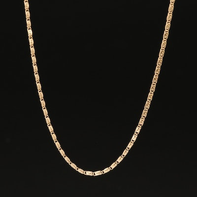 14K Scroll Link Necklace