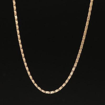 14K Scroll Link Necklace