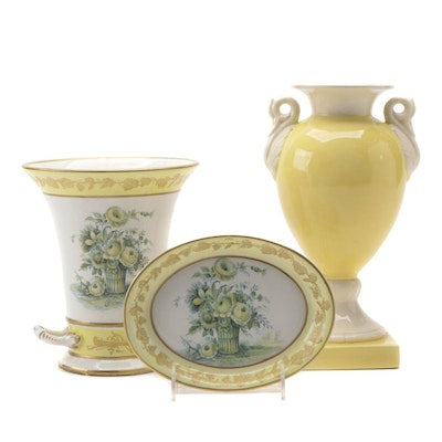 Mottahedeh Floral Ceramic Vase and Drip Plate with Other Ceramic Vase