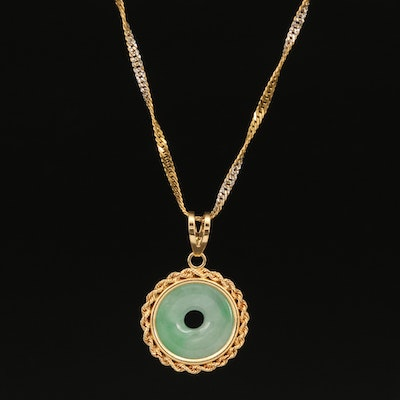14K Jadeite Bi Disk Necklace