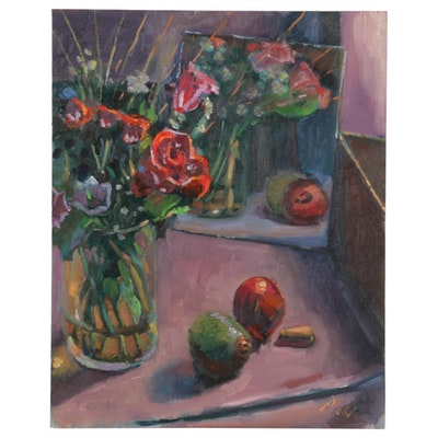 "William Pfahl Still Life Oil Painting ""Roses,"" 2016"