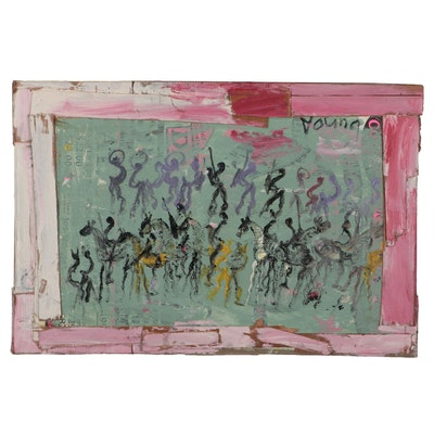Purvis Young Abstract Outsider Art Mixed Media Painting, circa 2000