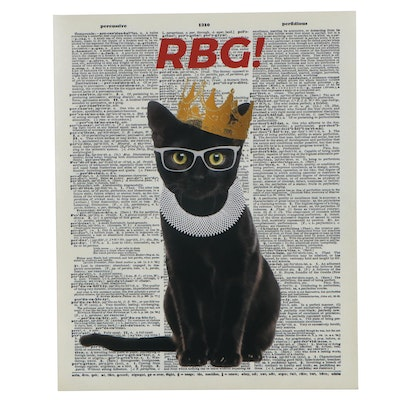 Giclée of Black Cat as Ruth Bader Ginsberg, 21st Century