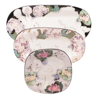 Paula Womacks Floral Rabbit Painted Platters and Plates, 1990s