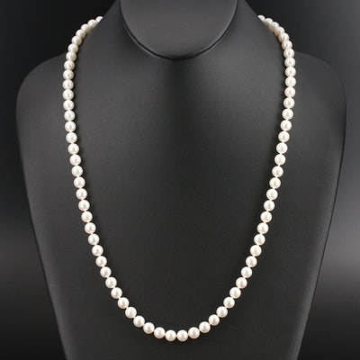 Blue Lagoon by Mikimoto Pearl Necklace with 14K Bow Clasp