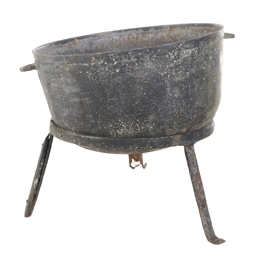 Cast Iron Cauldron on Stand, Early 20th Century