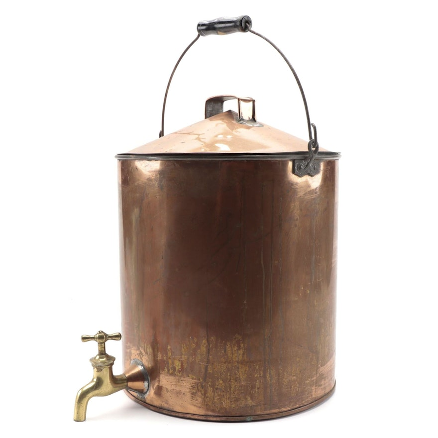 Hammered Copper Plated Water Cooler with Brass Tap, Early to Mid 20th Century