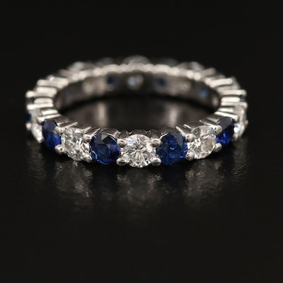Platinum 1.00 CTW Diamond and Sapphire Eternity Band