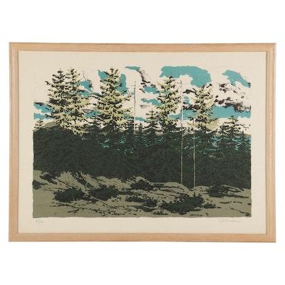 """Neil Welliver Color Lithograph """"Maine Landscape,"""" 1976"""