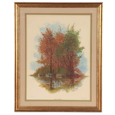 "William A. Horst Offset Lithograph ""Autumn Reflections"""