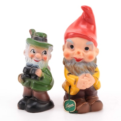 Heissner Hard Rubber Gnome Figurines, Mid-20th Century