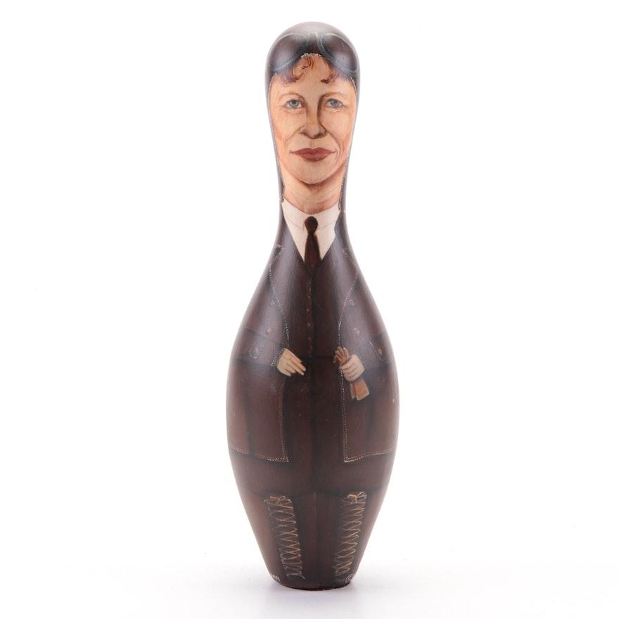 "Sue Disney Hand-Painted Bowling Pin ""Amelia Earhart,"" 1998"