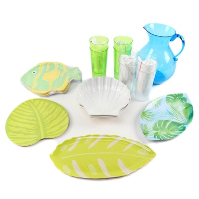 Pottery Barn Kids Fish Shaped Plates and Other Plastic Tableware, Contemporary
