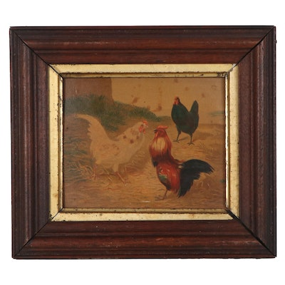 Chromolithograph of Roosters