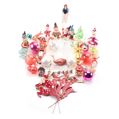 Blown Glass and Handmade Christmas Ornaments Including Reindeer and Snow White
