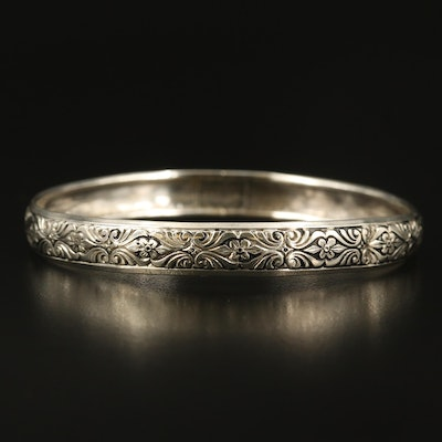Sterling Floral and Scroll Bangle