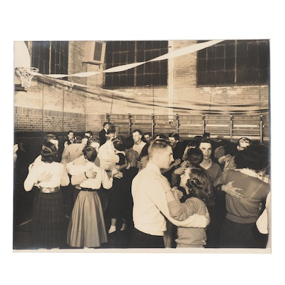 Silver Gelatin Photograph of a School Dance, Mid-20th Century