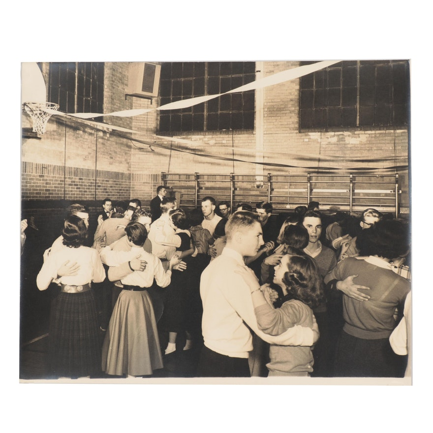 Silver Gelatin Photograph of a School Dance, Mid-20th Century
