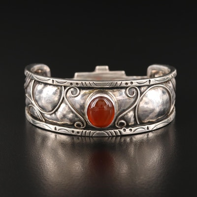 Sterling Carnelian Bangle with Scrollwork and Geometric Pattern