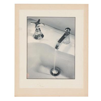 Silver Gelatin Photograph of a Running Sink