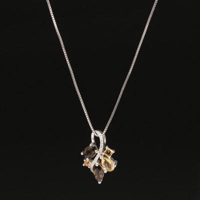Sterling Citrine, Smoky Quartz and Diamond Pendant Necklace