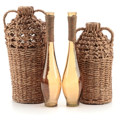 Woven Fiber Amphora Shaped Baskets and Glass Bottle Vases