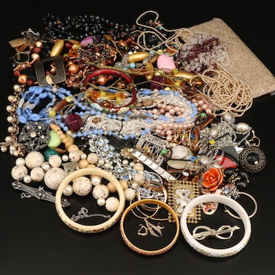 Scrap and Repair Lot Including Cloisonné, Rhinestone, Enamel and Faux Pearl