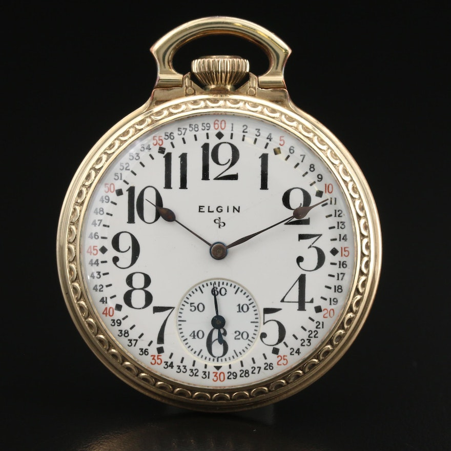1947 Elgin Rolled Gold Plate Open Face Pocket Watch