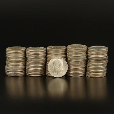 100 Kennedy Silver-Clad Half Dollars, Late 1960s