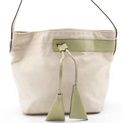 Bally Canvas Hobo Bag with Avocado Green Smooth Leather Trim